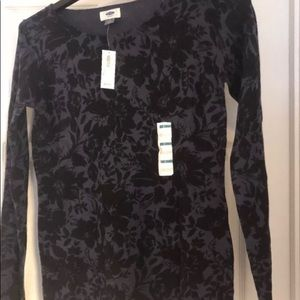BNWT Old Navy Floral Sweater Sz Small Blue Black